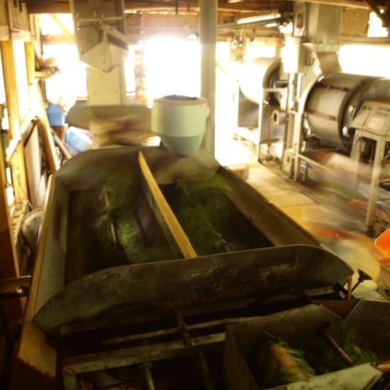 モリ式炒り葉機。釜炒り茶には機械化の歴史もあったが、今はほとんどのメーカーが姿を消してしまった